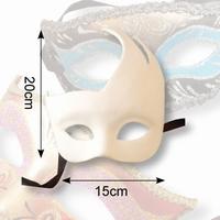 Venetiaans masker Olga Dol wit, 38109 Vlam 20x15cm