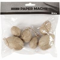 Creotime CCH510423 Papier-mache Eieren set van 6 stuks