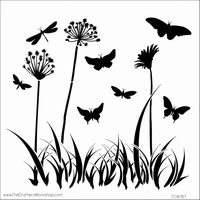 Stencil TCW312 template Butterfly Meadow art 3603-017