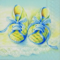 Ihr servet C 71140 (5x) Baby Shoes blauw 25x25cm/5stuks