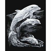Krasfolie Dolfijnen, Silver foil, SILF 11 20,3 x 25,4cm