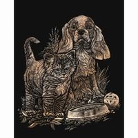 Krasfolie kitten and puppy , Copper foil COPF14 20,3 x 25,4cm