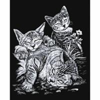 Krasfolie Tabby Cat and Kittens, Silver Foil, SILF13 20,3 x 25,4cm