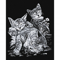 Krasfolie pakket SILF13 / QKL Tabby Cat and Kittens, Zilver
