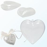 Transparant plastic hart deelbaar  8cm