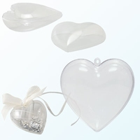 Transparant plastic hart deelbaar 14cm