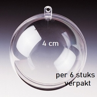 Transparante plastic bal deelbaar  4cm 4cm
