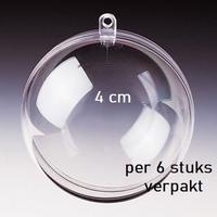 Transparante plastic bal deelbaar  4cm