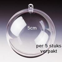 Transparante plastic bal deelbaar  5cm 5cm
