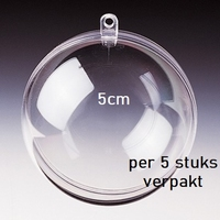 Transparante plastic bal deelbaar  5cm