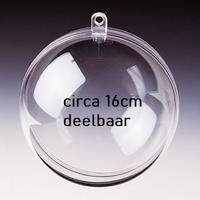 Transparante plastic bal deelbaar 16cm