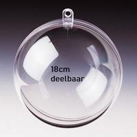 Transparante plastic bal deelbaar 18cm