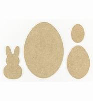 MDF K460.454.050 set  Pasen, haasje en eieren 14x10cm/3mm dik