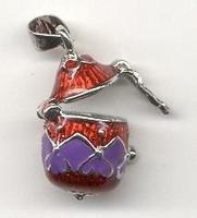H&C12167-6701 Sieradenhanger afsluitbaar Eivorm rood/paars