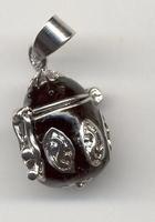H&C12167-6703 Sieradenhanger afsluitbaar Eivorm zilver/zwart