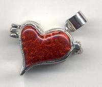 H&C12167-6711 Sieradenhanger afsluitbaar Hart zilver/rood ca.2cm x 1,5cm