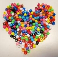 H&C Fun 12328-2801 Pony Beads opaak Mix assorti kleuren 6x8mm/ca.50gram