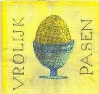 Servet: Vrolijk Pasen (ei in eierdop) OP=OP 33x33cm/5stuks