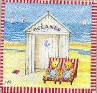 Servet Beertjes strand met rode of blauwe rand OP=OP