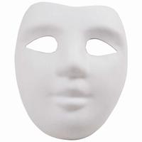 Masker vol gezicht witte geperste papierpulp.08793.50.53 20x18,5cm