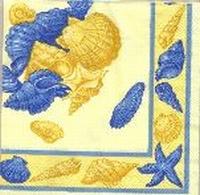 Servet Schelpen geel+blauw/gele achtergrond OP=OP 33x33cm/5stuks