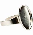 Pardoworld Sieraadbasis Ring 14x19mm ovaal zilver 48317