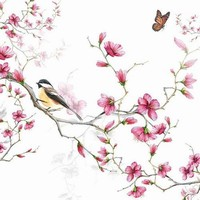 Servetten Ambiente 1331_1215 Vogel en bloesem