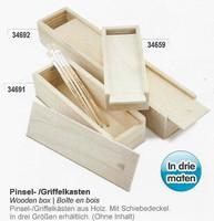 Meyco 34659 Houten kistje met schuifdeksel 16,5cm 16,5x6,5x3,7cm