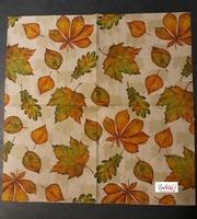 NIEUW Servet PS82967 Herfstbladeren ''Leaf Varity''  5 stuks 33x33cm/5stuks