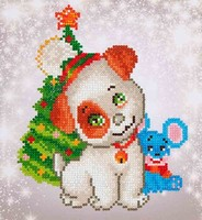 Diamond Dotz DD 3.012 Christmas Pup & Mouse 23x25cm