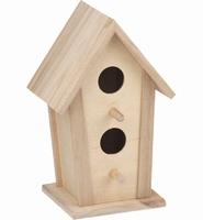 Houten vogelhuisje met 2 vliegopeningen 7787-8187