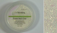 Craftemotions-foamball-clay-0301 Wit-Glitter