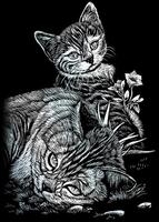 Krasfolie pakket 102 Silver Foil / Tabby Cat & Kitten mini