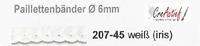 Meyco 207-45 Paillettenband 6mm Wit - iridiserend