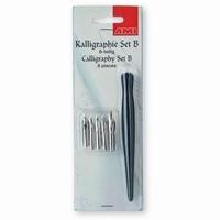 AMI 445.494 Kalligraphie set B houten penhouder+5 pennen