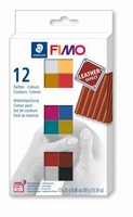 Fimo Soft C12-2 effect leather set colour 12 pack