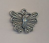 Ornament vlinder antiek zilver 2 cm