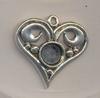 Ornament hart met ruimte voor 7 a 8 mm strass antiek zilver 2 cm