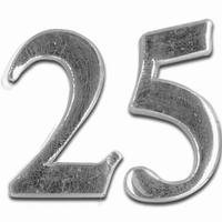 Meyco 36279 Was Jubileums getal 25 in Zilver (kaarsenwas)