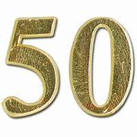 Meyco 36278 Was Jubileums getal 50 in goud (kaarsenwas)
