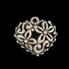 Ornament open hartje antiek zilver 15 mm