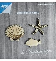 JoyCrafts Woodsters 6320/0003 Houten Zeester, schelp, vis