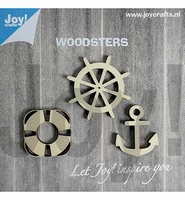 JoyCrafts Woodsters 6320/0005 Houten Anker,boei,stuurwiel