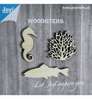 JoyCrafts Woodsters 6320/0004 Houten Zeepaard,koraal,vis
