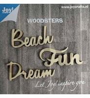 JoyCrafts Woodsters 6320/0008 Houten woord Work,Dream,Beach
