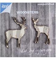 JoyCrafts Woodsters 6320/0010 Houten hertjes set 2 stuks