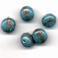Glaskralen handmade Opaque Turqouise 11809-1202 10x12mm  5stuks