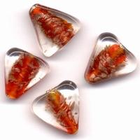 Glaskralen handmade Driehoek transparant rood 11809-1305 4 stuks