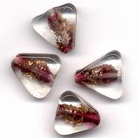 Glaskralen handmade Driehoek transparant Fuchsia 11809-1308 4 stuks