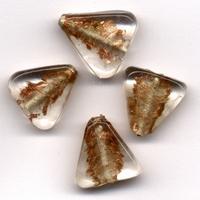 Glaskralen handmade Driehoek Transparant Goud 11809-1309 4 stuks